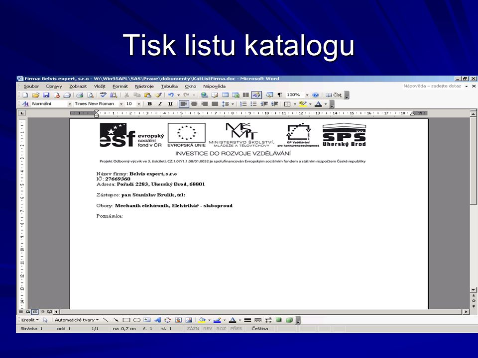 Tisk listu katalogu