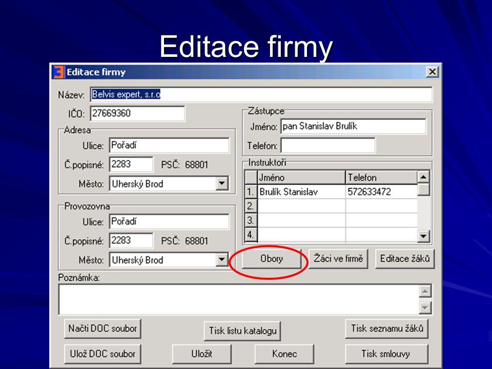 Editace firmy