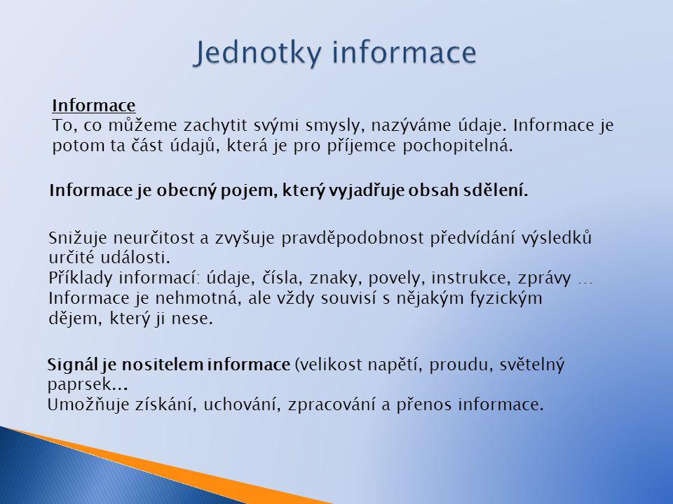 Informace To, co můžeme zachytit svými smysly, nazýváme údaje. Informace je potom ta část údajů, která je pro příjemce pochopitelná. Informace je obec