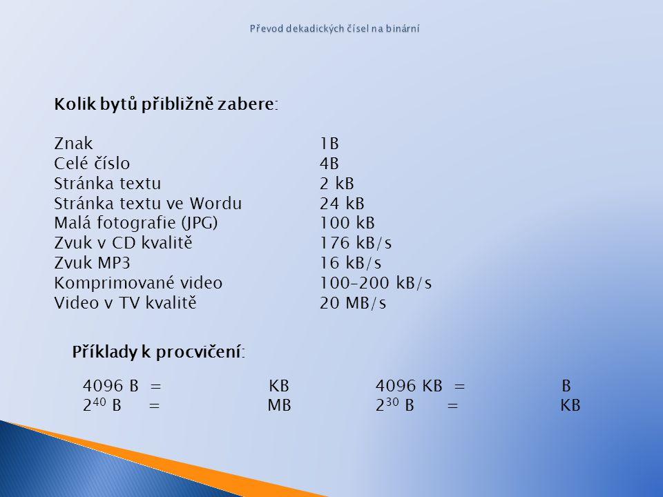 Kolik bytů přibližně zabere: Znak 1B Celé číslo 4B Stránka textu 2 kB Stránka textu ve Wordu 24 kB Malá fotografie (JPG) 100 kB Zvuk v CD kvalitě 176