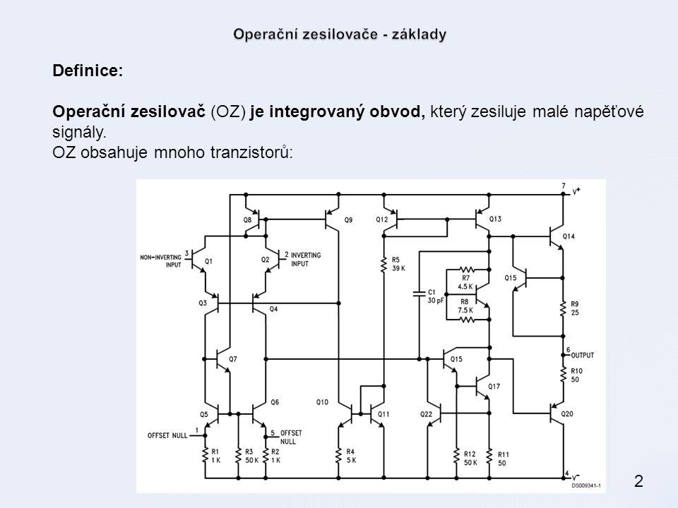 2 Definice: Operační zesilovač (OZ) je integrovaný obvod, který zesiluje malé napěťové signály. OZ obsahuje mnoho tranzistorů: