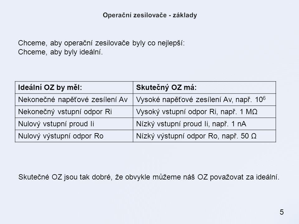 5 Ideální OZ by měl:Skutečný OZ má: Nekonečné napěťové zesílení AvVysoké napěťové zesílení Av, např.