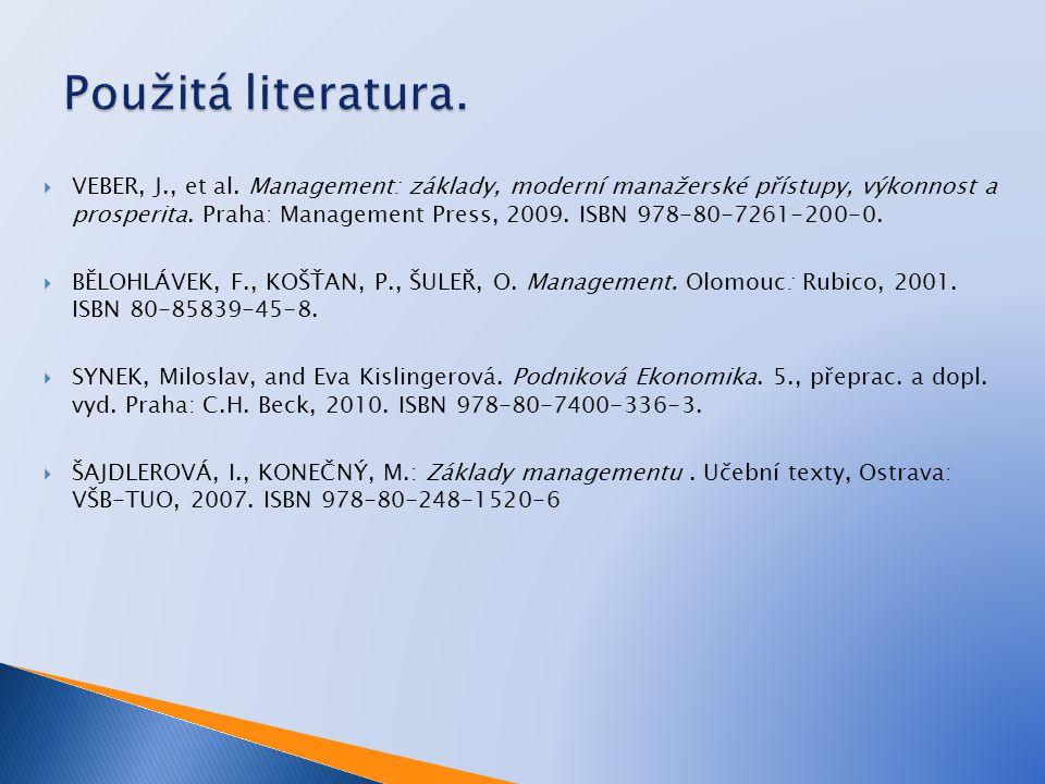  VEBER, J., et al. Management: základy, moderní manažerské přístupy, výkonnost a prosperita. Praha: Management Press, 2009. ISBN 978-80-7261-200-0. 