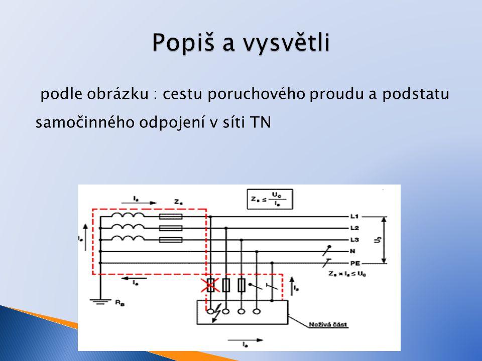 podle obrázku : cestu poruchového proudu a podstatu samočinného odpojení v síti TN