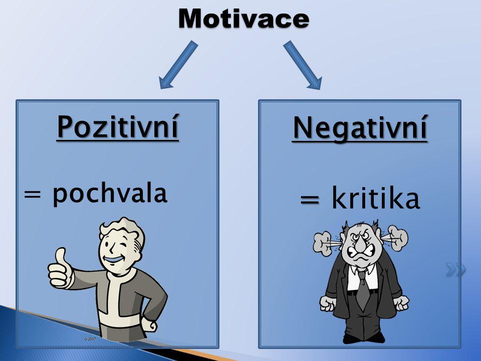 Motivace Pozitivní = pochvalaNegativní = = kritika
