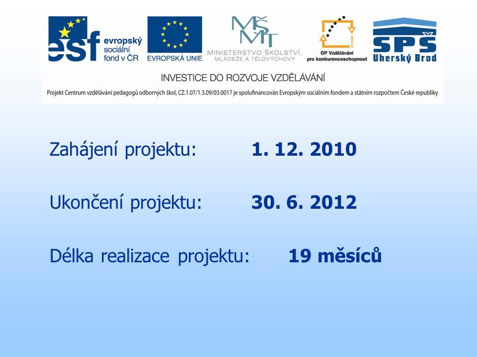 Zahájení projektu: 1. 12. 2010 Ukončení projektu: 30. 6. 2012 Délka realizace projektu:19 měsíců