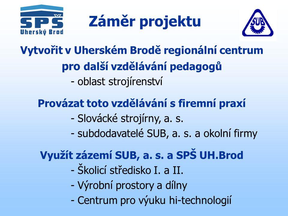 Záměr projektu Vytvořit v Uherském Brodě regionální centrum pro další vzdělávání pedagogů - oblast strojírenství Provázat toto vzdělávání s firemní praxí - Slovácké strojírny, a.