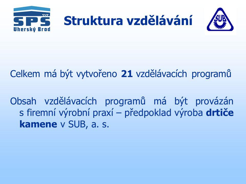 Struktura vzdělávání Celkem má být vytvořeno 21 vzdělávacích programů Obsah vzdělávacích programů má být provázán s firemní výrobní praxí – předpoklad výroba drtiče kamene v SUB, a.