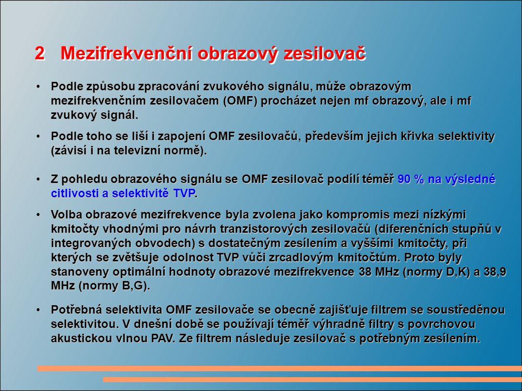 2 Mezifrekvenční obrazový zesilovač Podle způsobu zpracování zvukového signálu, může obrazovým mezifrekvenčním zesilovačem (OMF) procházet nejen mf ob