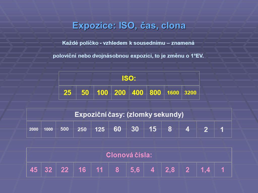 Expozice: ISO, čas, clona Clonová čísla: 453222161185,642,821,41 ISO: 2550100200400800 16003200 Každé políčko - vzhledem k sousednímu – znamená poloviční nebo dvojnásobnou expozici, to je změnu o 1°EV.
