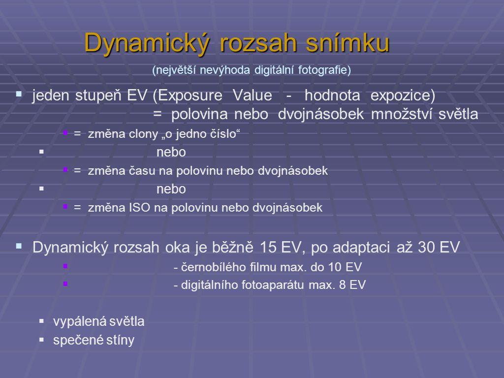Možnosti změny expozičních hodnot ISO: 25 50 100 200 400 800 1600 -3 -2 -1 0 +1 +2 +3 clona: 16 11 8 5,6 4 2,8 2 -3 -2 -1 0 +1 +2 +3 čas: 1/1 000 1/500 1/250 1/125 1/60 1/30 1/15 -3 -2 -1 0 +1 +2 +3 šedá 18% -3 -2 -1 0 +1 +2 +3 stupně EV když je dost světla (žádný šum) když je málo světla (ale bude velký šum) malá hloubka ostrosti velká hloubka ostrosti (možnost) rozmazání (stativ nebo blesk) zachycení rychlého pohybu podexponováno - tmavépřeexponováno - světlé
