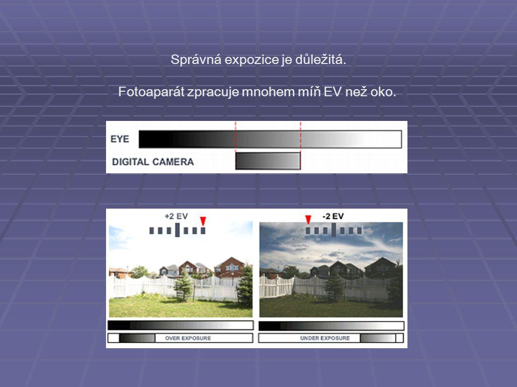 Nastavení expozice Tři parametry: 1) ISO (International Standards Organization) citlivost (zesílení) snímacího čipu podle množství světla při fotografování určuje šum snímku 2) čas doba dopadu světla na snímací čip určuje: roztřepání a pohybovou neostrost zmrazení pohybu 3) clona velikost otvoru, kterým dopadá světlo na snímací čip ovlivňuje: hloubku ostrosti množství světla potřebného k fotografování