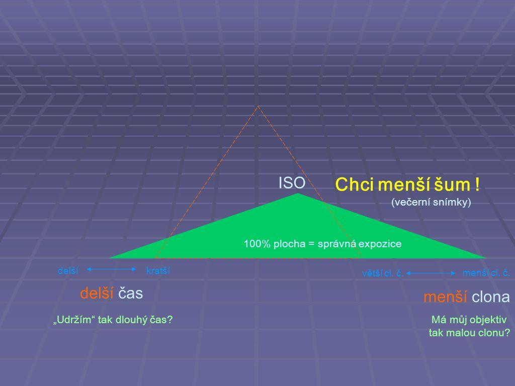 ISO delší čas menší clona Chci menší šum .Má můj objektiv tak malou clonu.