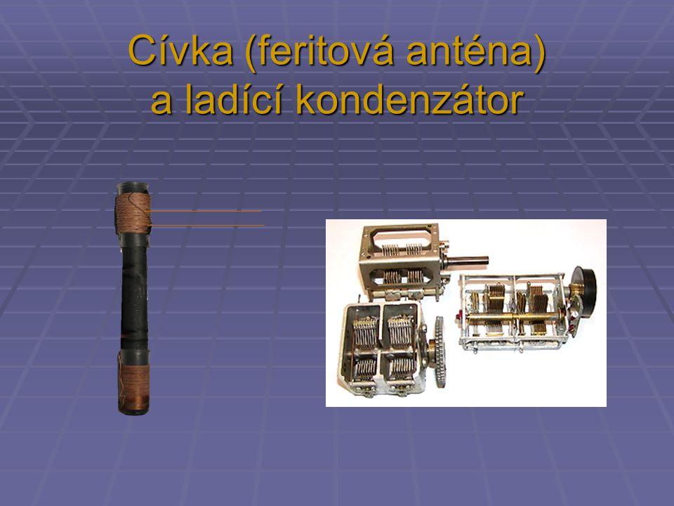 Cívka (feritová anténa) a ladící kondenzátor