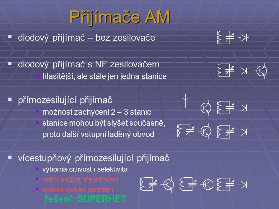 Přijímače AM  diodový přijímač – bez zesilovače  diodový přijímač s NF zesilovačem  hlasitější, ale stále jen jedna stanice  přímozesilující přijí