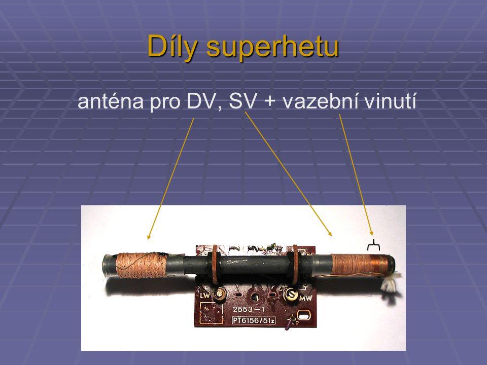 Díly superhetu anténa pro DV, SV + vazební vinutí