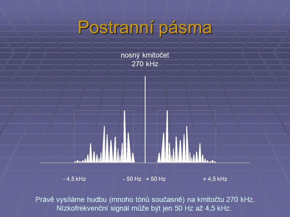 Postranní pásma Právě vysíláme hudbu (mnoho tónů současně) na kmitočtu 270 kHz. Nízkofrekvenční signál může být jen 50 Hz až 4,5 kHz. nosný kmitočet 2