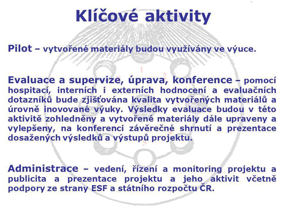 Klíčové aktivity Pilot – vytvořené materiály budou využívány ve výuce.