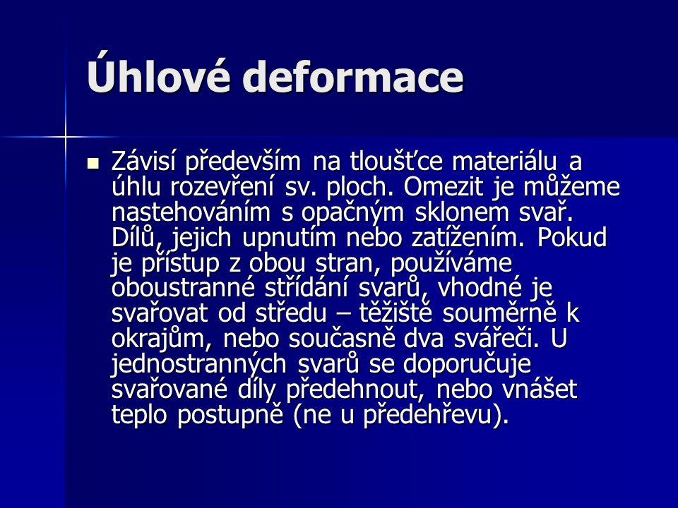 Úhlové deformace Závisí především na tloušťce materiálu a úhlu rozevření sv. ploch. Omezit je můžeme nastehováním s opačným sklonem svař. Dílů, jejich
