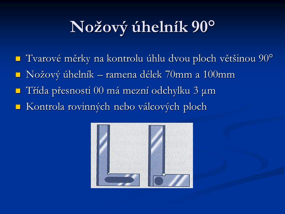 Nožový úhelník 90° Tvarové měrky na kontrolu úhlu dvou ploch většinou 90° Tvarové měrky na kontrolu úhlu dvou ploch většinou 90° Nožový úhelník – rame