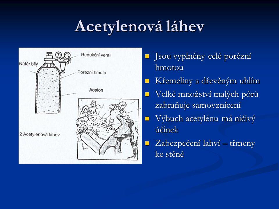 Acetylenová láhev Jsou vyplněny celé porézní hmotou Křemeliny a dřevěným uhlím Velké množství malých pórů zabraňuje samovznícení Výbuch acetylénu má n