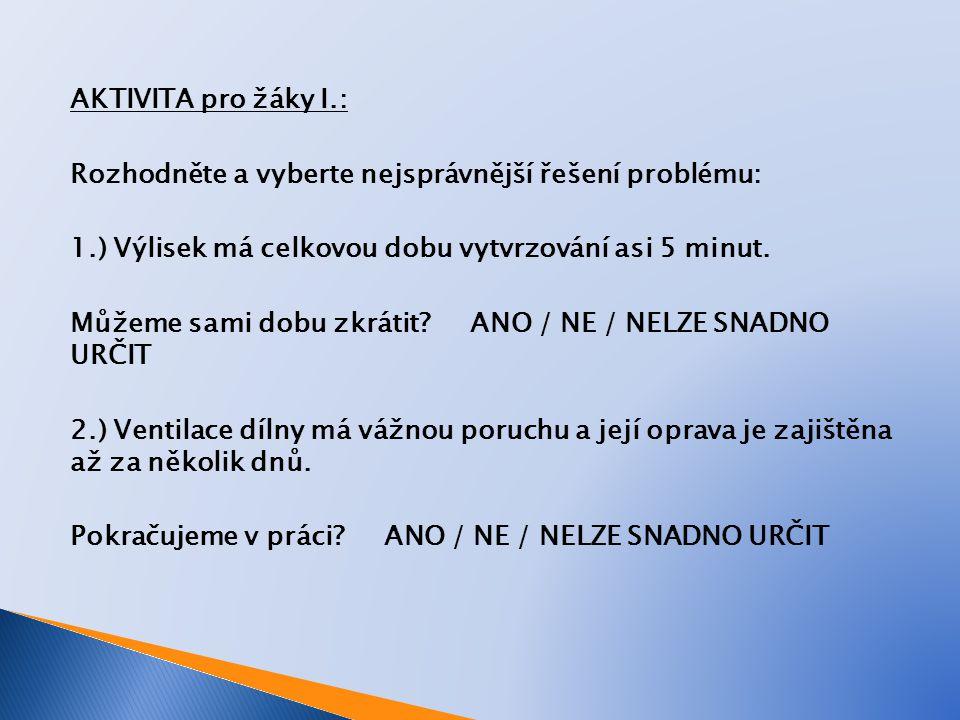 AKTIVITA pro žáky II.: Rozhodněte a vyberte nejsprávnější řešení problému: 3.) Vyhazování hotových výlisků z formy má závadu.