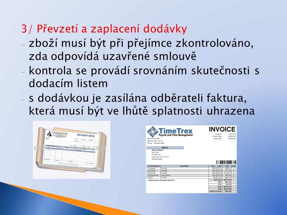 3/ Převzetí a zaplacení dodávky - zboží musí být při přejímce zkontrolováno, zda odpovídá uzavřené smlouvě - kontrola se provádí srovnáním skutečnosti s dodacím listem - s dodávkou je zasílána odběrateli faktura, která musí být ve lhůtě splatnosti uhrazena