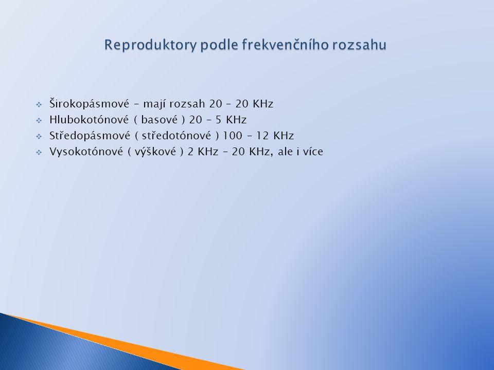  Širokopásmové – mají rozsah 20 – 20 KHz  Hlubokotónové ( basové ) 20 – 5 KHz  Středopásmové ( středotónové ) 100 – 12 KHz  Vysokotónové ( výškové