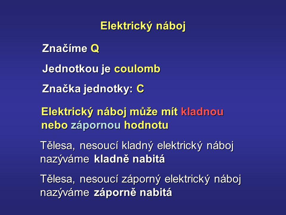 Elektrický náboj Značíme Q Jednotkou je coulomb Značka jednotky: C Elektrický náboj může mít kladnou nebo zápornou hodnotu Tělesa, nesoucí kladný elektrický náboj nazýváme kladně nabitá Tělesa, nesoucí záporný elektrický náboj nazýváme záporně nabitá