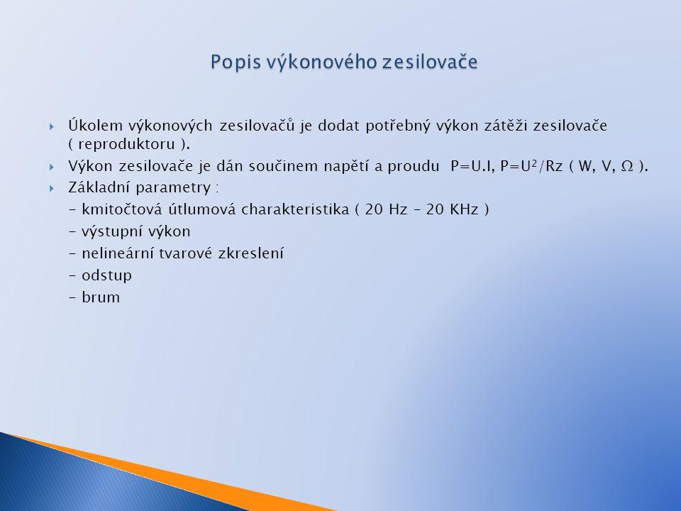  Úkolem výkonových zesilovačů je dodat potřebný výkon zátěži zesilovače ( reproduktoru ).  Výkon zesilovače je dán součinem napětí a proudu P=U.I, P