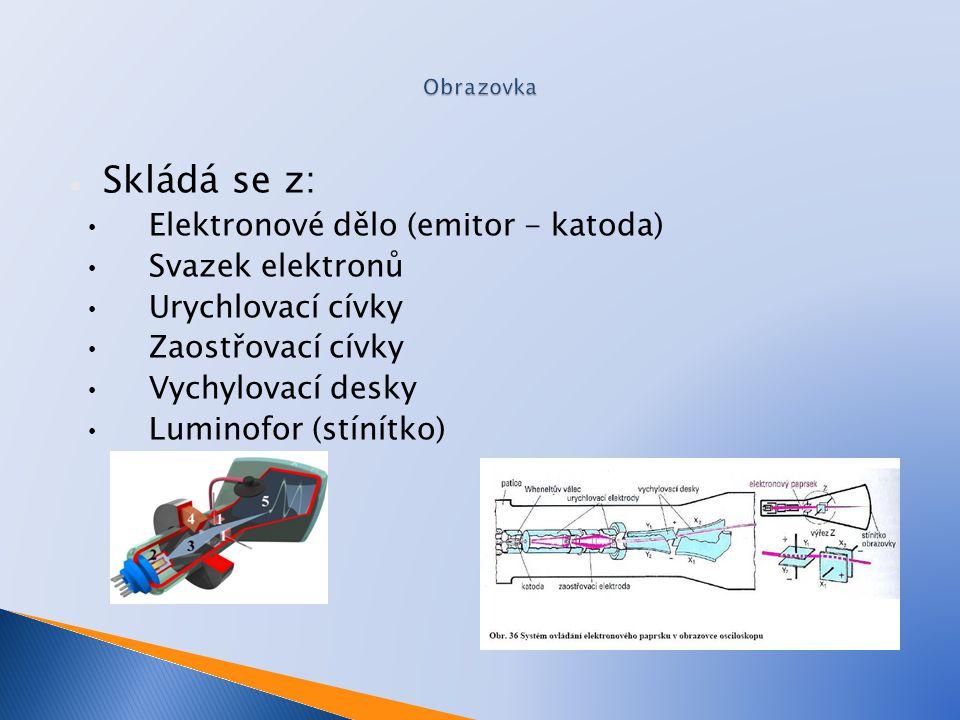 Skládá se z: Elektronové dělo (emitor - katoda) Svazek elektronů Urychlovací cívky Zaostřovací cívky Vychylovací desky Luminofor (stínítko)