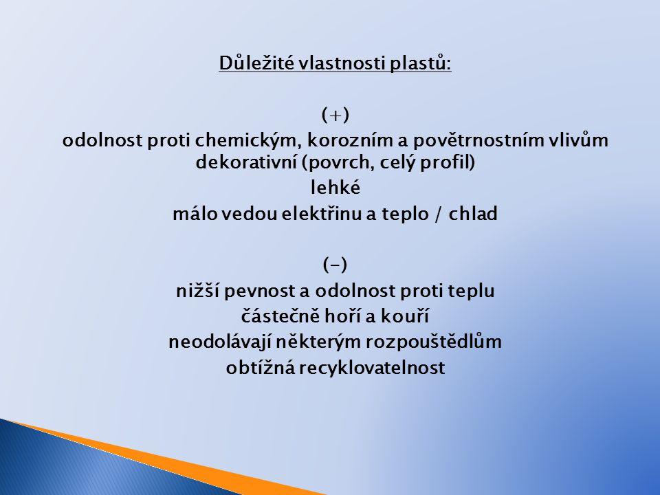 Důležité vlastnosti plastů: (+) odolnost proti chemickým, korozním a povětrnostním vlivům dekorativní (povrch, celý profil) lehké málo vedou elektřinu