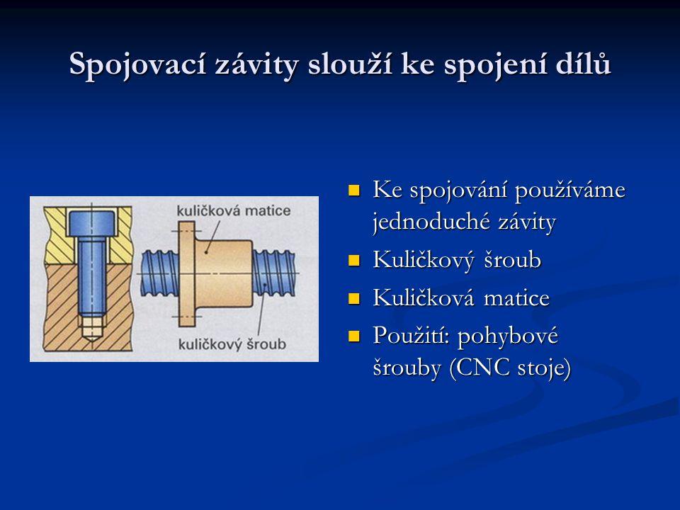 Spojovací závity slouží ke spojení dílů Ke spojování používáme jednoduché závity Kuličkový šroub Kuličková matice Použití: pohybové šrouby (CNC stoje)