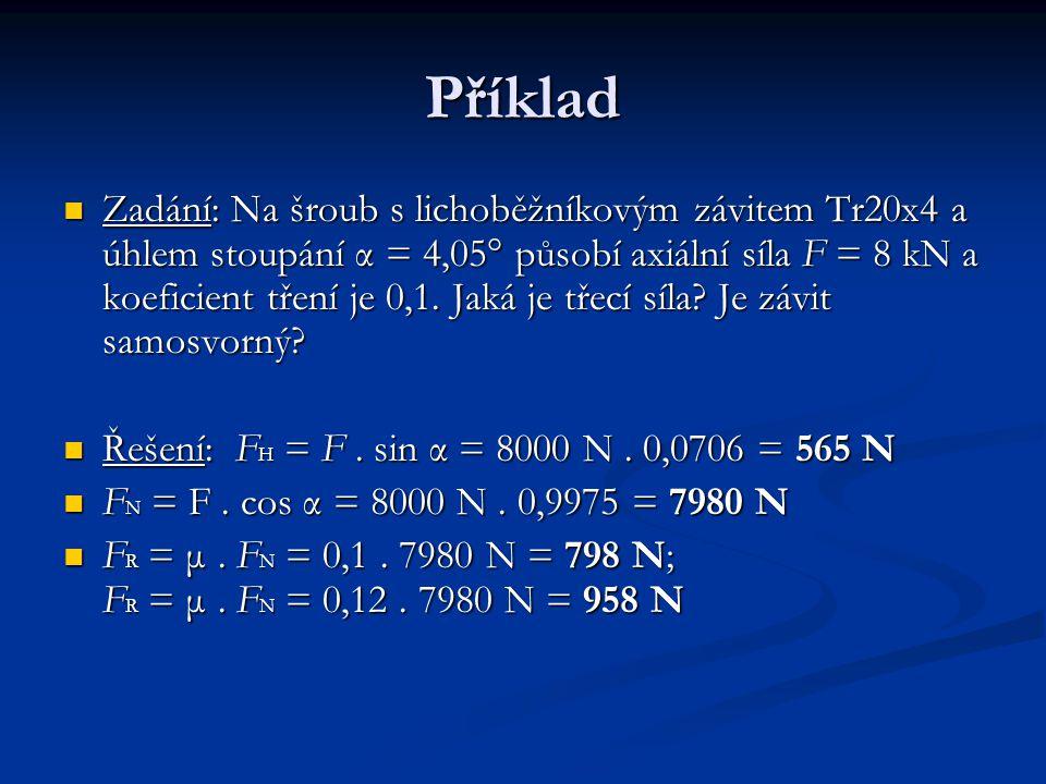 Příklad Zadání: Na šroub s lichoběžníkovým závitem Tr20x4 a úhlem stoupání α = 4,05° působí axiální síla F = 8 kN a koeficient tření je 0,1. Jaká je t
