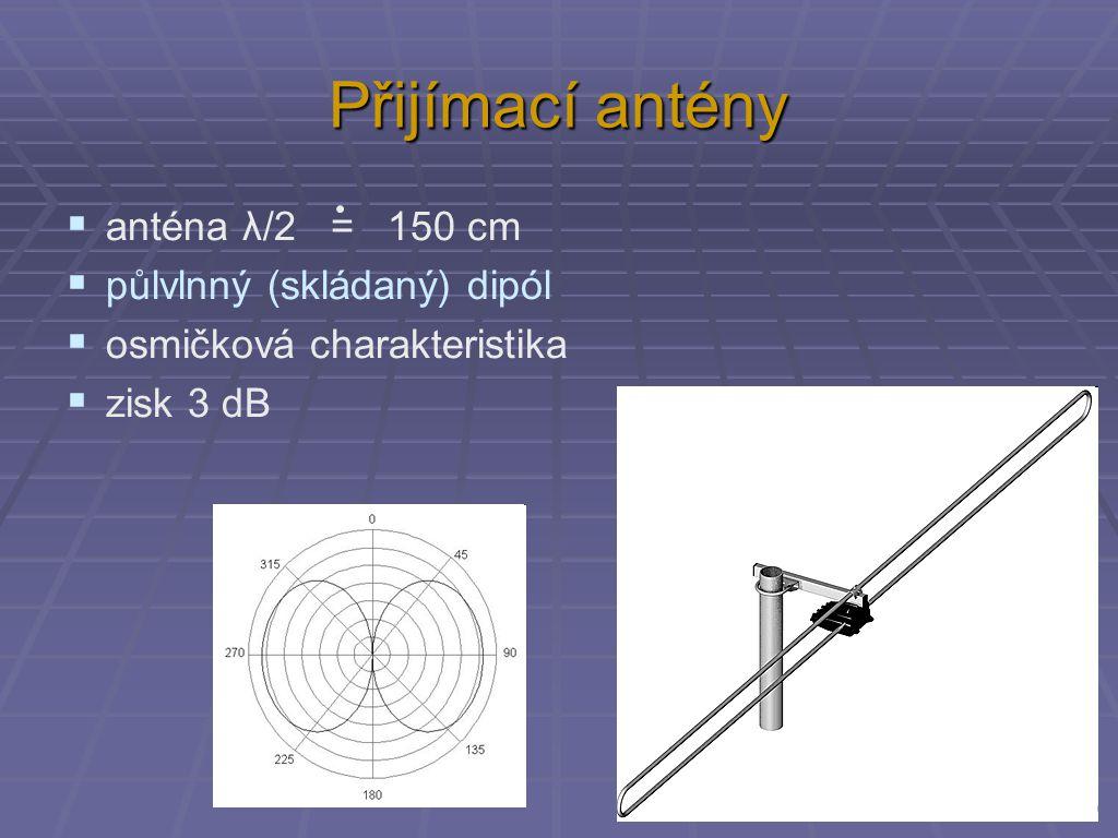 Přijímací antény  anténa λ/2 = 150 cm  půlvlnný (skládaný) dipól  osmičková charakteristika  zisk 3 dB