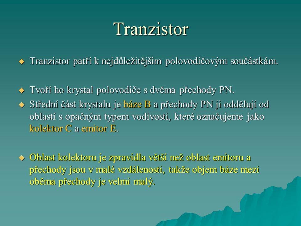 Tranzistor  Tranzistor patří k nejdůležitějším polovodičovým součástkám.  Tvoří ho krystal polovodiče s dvěma přechody PN.  Střední část krystalu j