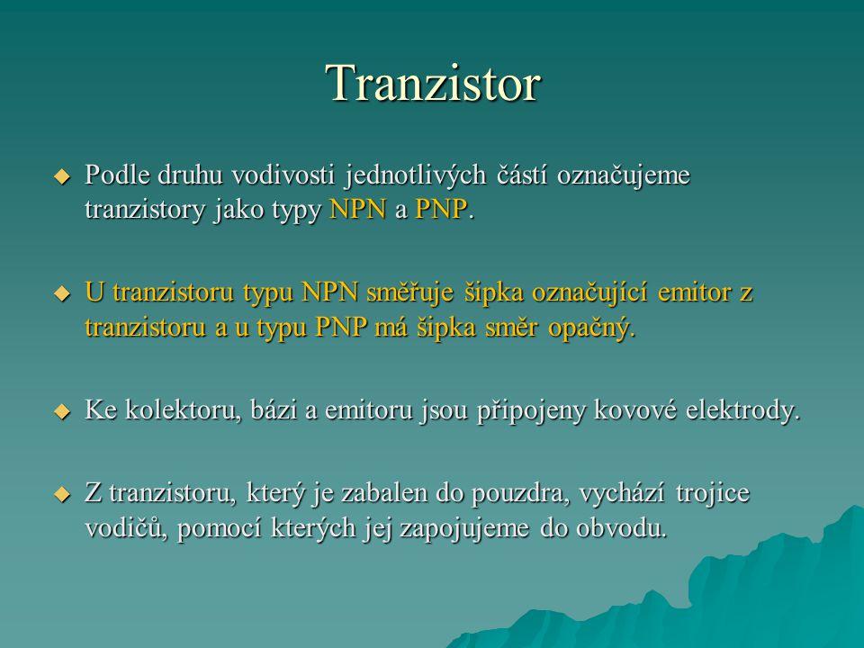 Tranzistor  Podle druhu vodivosti jednotlivých částí označujeme tranzistory jako typy NPN a PNP.  U tranzistoru typu NPN směřuje šipka označující em