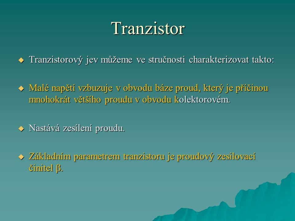 Tranzistor  Tranzistorový jev můžeme ve stručnosti charakterizovat takto:  Malé napětí vzbuzuje v obvodu báze proud, který je příčinou mnohokrát vět