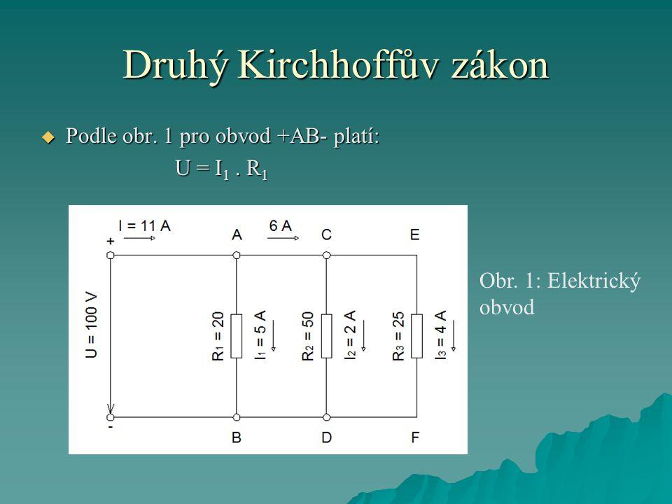 Druhý Kirchhoffův zákon  Podle obr. 1 pro obvod +AB- platí: U = I 1. R 1 Obr. 1: Elektrický obvod
