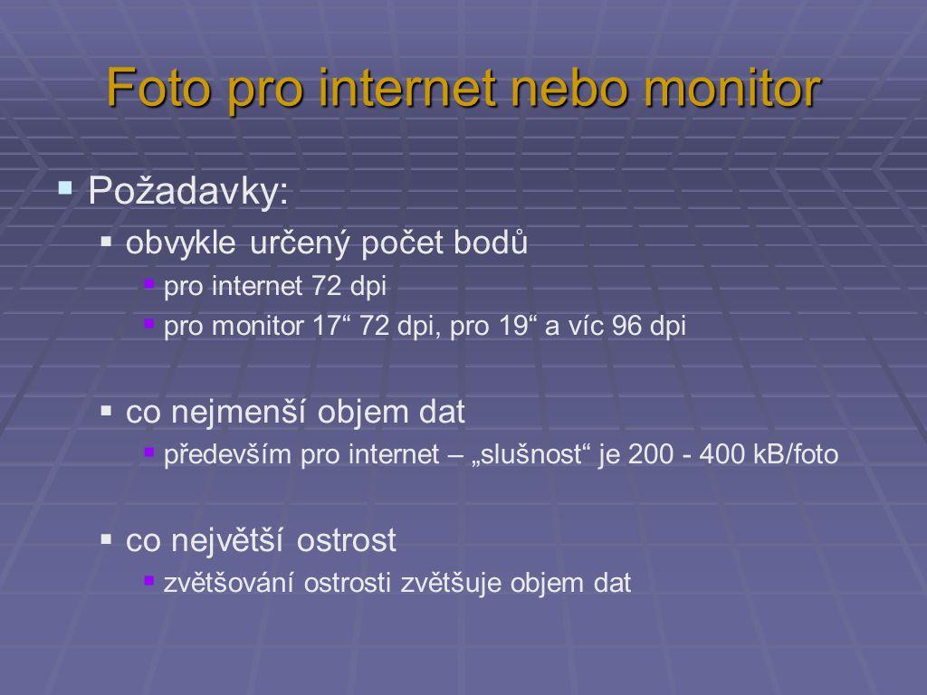 """Foto pro internet nebo monitor  Požadavky:  obvykle určený počet bodů  pro internet 72 dpi  pro monitor 17 72 dpi, pro 19 a víc 96 dpi  co nejmenší objem dat  především pro internet – """"slušnost je 200 - 400 kB/foto  co největší ostrost  zvětšování ostrosti zvětšuje objem dat"""