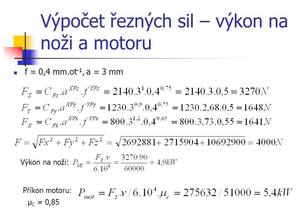 Výpočet řezných sil – výkon na noži a motoru f = 0,4 mm.ot -1, a = 3 mm Výkon na noži: Příkon motoru: μ C = 0,85