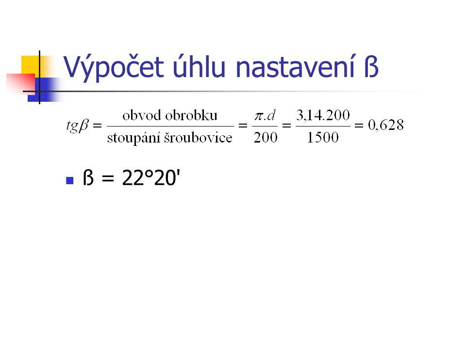 Výpočet úhlu nastavení ß ß = 22°20'