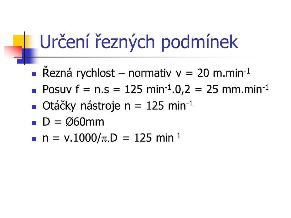 Určení řezných podmínek Řezná rychlost – normativ v = 20 m.min -1 Posuv f = n.s = 125 min -1.0,2 = 25 mm.min -1 Otáčky nástroje n = 125 min -1 D = Ø60