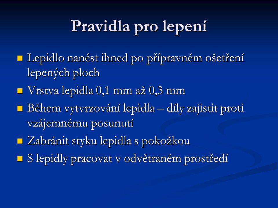 Pravidla pro lepení Lepidlo nanést ihned po přípravném ošetření lepených ploch Lepidlo nanést ihned po přípravném ošetření lepených ploch Vrstva lepid