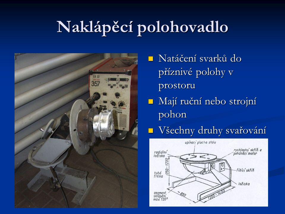 Naklápěcí polohovadlo Natáčení svarků do příznivé polohy v prostoru Mají ruční nebo strojní pohon Všechny druhy svařování