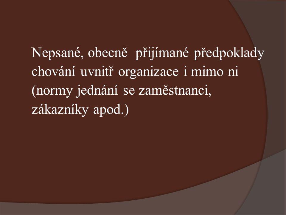 Nepsané, obecně přijímané předpoklady chování uvnitř organizace i mimo ni (normy jednání se zaměstnanci, zákazníky apod.)