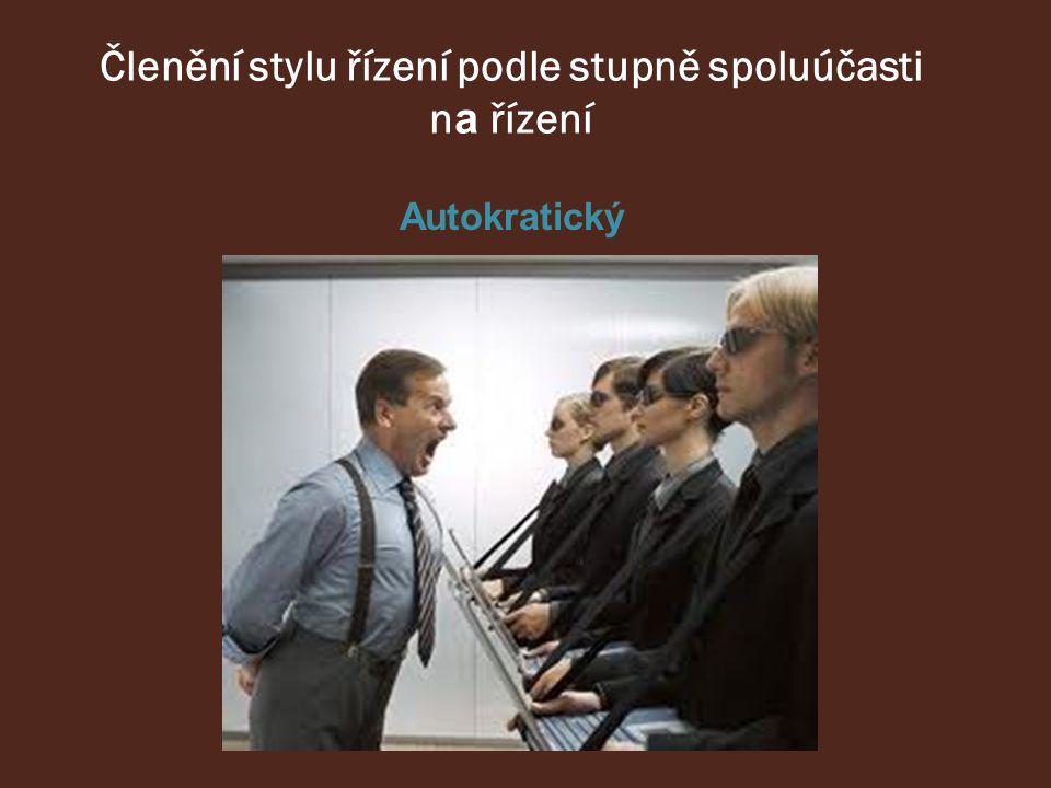 Členění stylu řízení podle stupně spoluúčasti n a řízení Autokratický