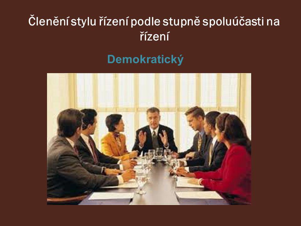 Demokratický Členění stylu řízení podle stupně spoluúčasti na řízení