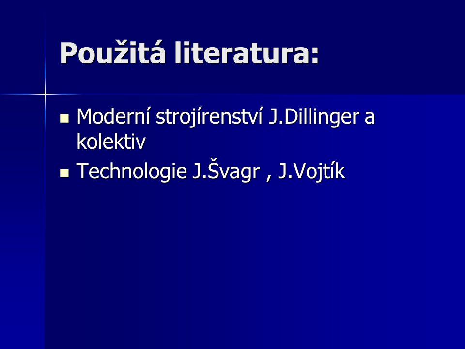 Použitá literatura: Moderní strojírenství J.Dillinger a kolektiv Moderní strojírenství J.Dillinger a kolektiv Technologie J.Švagr, J.Vojtík Technologie J.Švagr, J.Vojtík