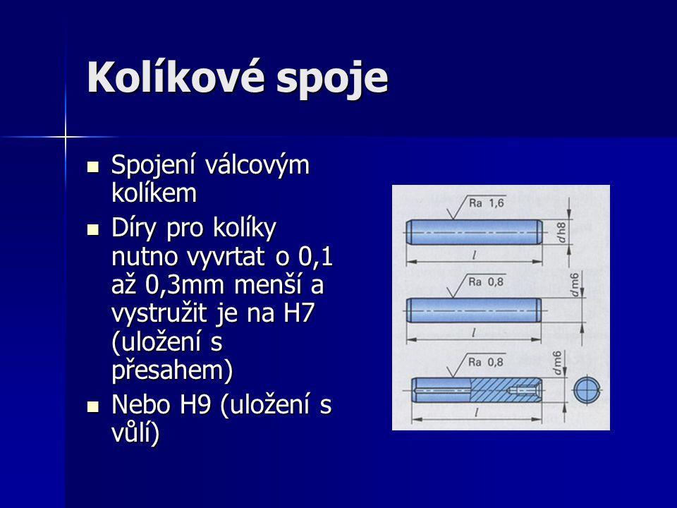 Kolíkové spoje Spojení válcovým kolíkem Spojení válcovým kolíkem Díry pro kolíky nutno vyvrtat o 0,1 až 0,3mm menší a vystružit je na H7 (uložení s přesahem) Díry pro kolíky nutno vyvrtat o 0,1 až 0,3mm menší a vystružit je na H7 (uložení s přesahem) Nebo H9 (uložení s vůlí) Nebo H9 (uložení s vůlí)